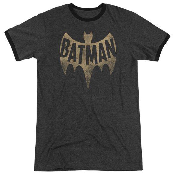 Batman Classic Tv Vintage Logo Adult Heather Ringer Charcoal