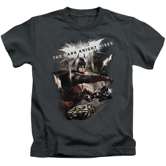 Dark Knight Rises Imagine The Fire Short Sleeve Juvenile Charcoal T-Shirt