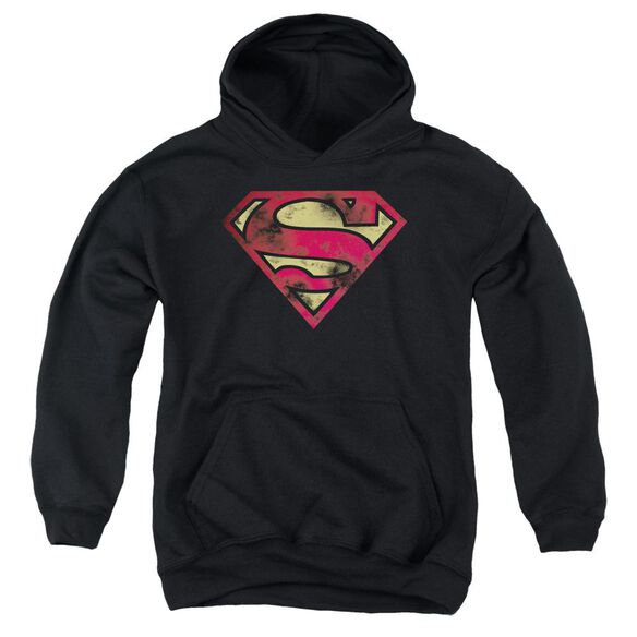Superman War Torn Logo Youth Pull Over Hoodie