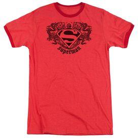 Superman Superman Dragon - Adult Heather Ringer - Red