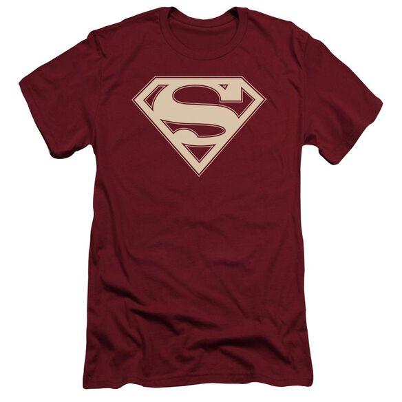 Superman Crimson & Cream Shield Short Sleeve Adult T-Shirt