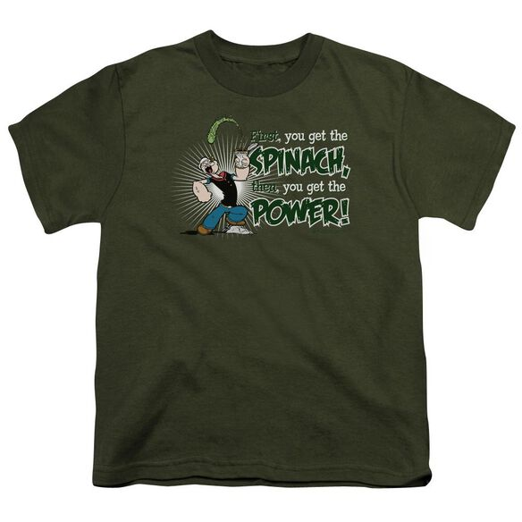 Popeye Spinach Power Short Sleeve Youth Military T-Shirt