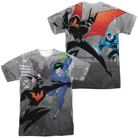 Batman Beyond Baddie Battle (Front Back Print) Short Sleeve Adult Poly Crew T-Shirt