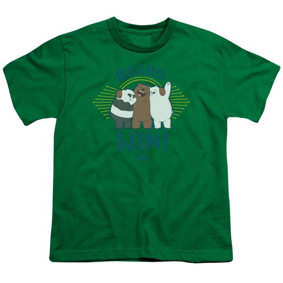 We Bare Bears Bears Win Short Sleeve Youth Kelly T-Shirt