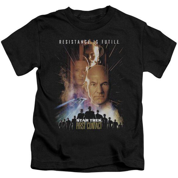 Star Trek First Contact(Movie) Short Sleeve Juvenile Black T-Shirt