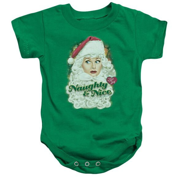 I Love Lucy Santa Infant Snapsuit Kelly Green