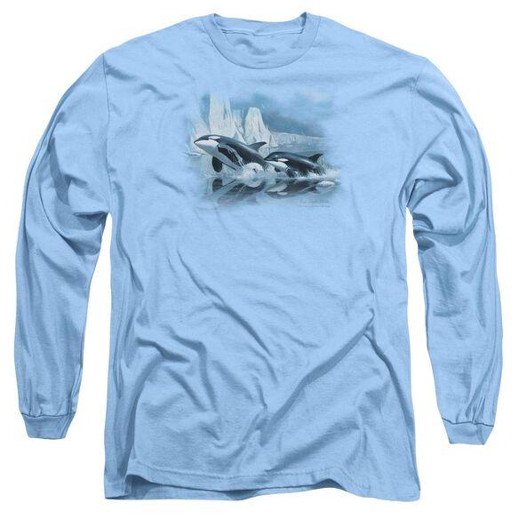 Wildlife Glaciers Edge Orcas Long Sleeve Adult Carolina T-Shirt