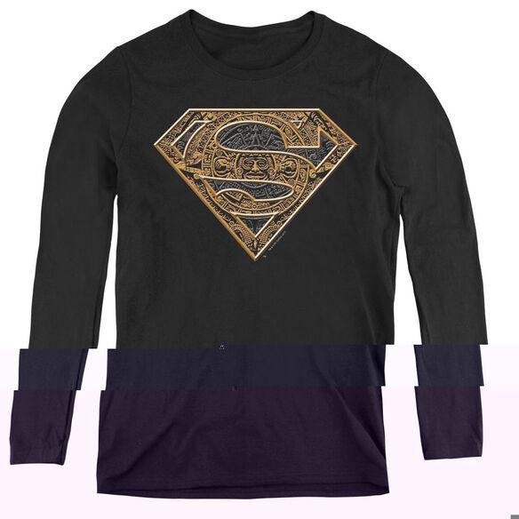Superman Aztec Shield - Womens Long Sleeve Tee - Black