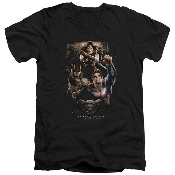 Batman V Superman Three In Action Short Sleeve Adult V Neck T-Shirt