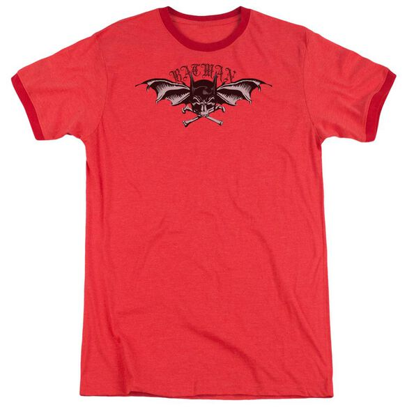Batman Wings Of Wrath Adult Heather Ringer Red