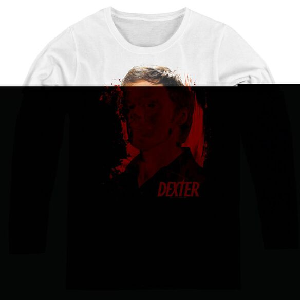 Dexter Blood Splatter - Womens Long Sleeve Tee - White