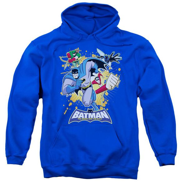 Batman Bb Burst Into Action Adult Pull Over Hoodie Royal