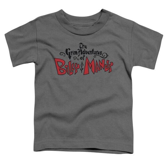 Grim Adventures Of Billy And Mandy Grim Logo Short Sleeve Toddler Tee Charcoal T-Shirt