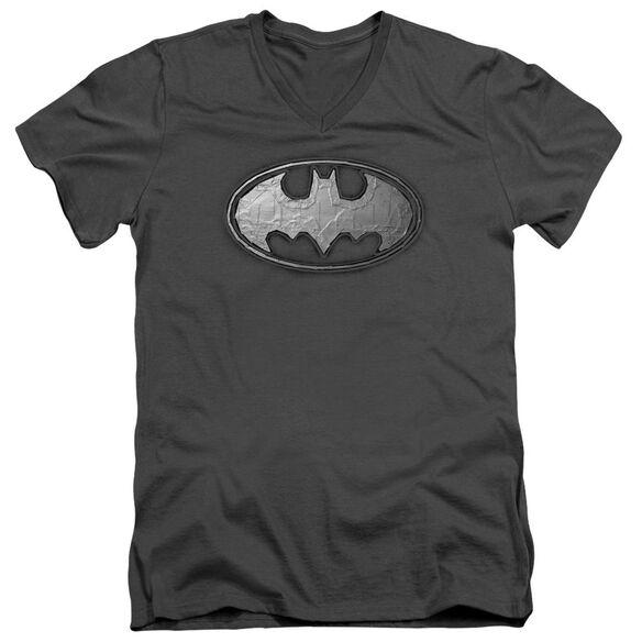Batman Duct Tape Logo Short Sleeve Adult V Neck T-Shirt
