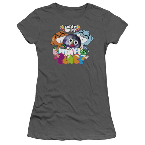 Amazing World Of Gumball Happy Place Short Sleeve Junior Sheer T-Shirt