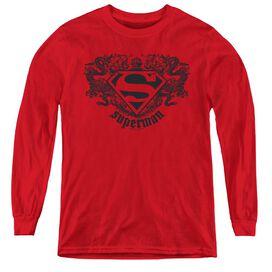 Superman Superman Dragon - Youth Long Sleeve Tee - Red