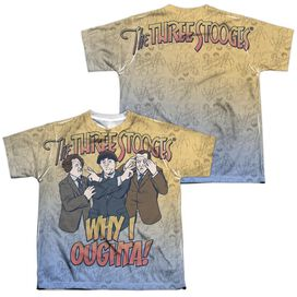 Three Stooges Why I Oughta (Front Back Print) Short Sleeve Youth Poly Crew T-Shirt