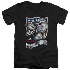 POPEYE STRONG & PROUD - S/S ADULT V-NECK - BLACK T-Shirt