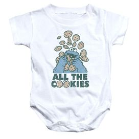 Sesame Street All The Cookies Infant Snapsuit White