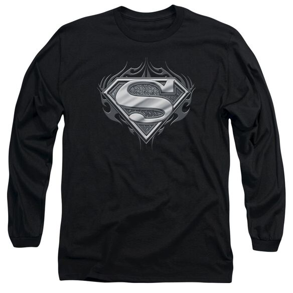 Superman Biker Metal Long Sleeve Adult T-Shirt