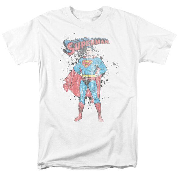 Superman Vintage Ink Splatter Short Sleeve Adult White T-Shirt