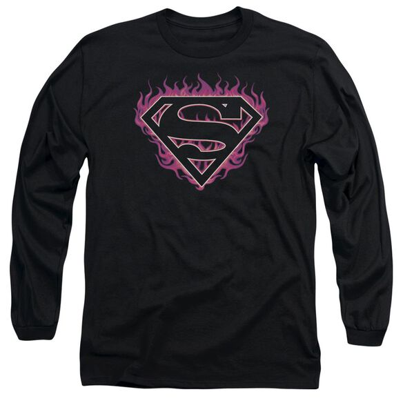 Superman Fuchsia Flames Long Sleeve Adult T-Shirt