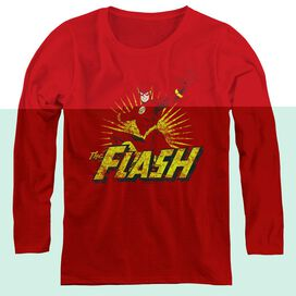 JLA FLASH ROUGH DISTRESS - WOMENS LONG SLEEVE TEE - RED