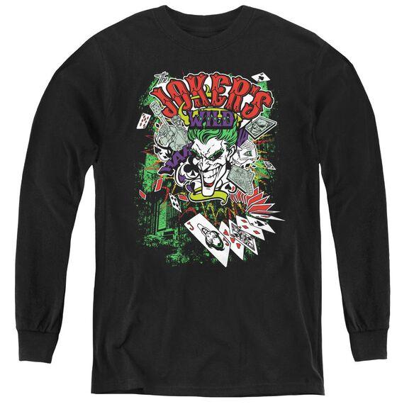 Batman Jokers Wild - Youth Long Sleeve Tee - Black