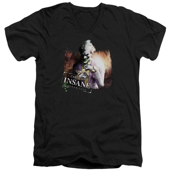 Arkham City Certified Insane Short Sleeve Adult V Neck T-Shirt