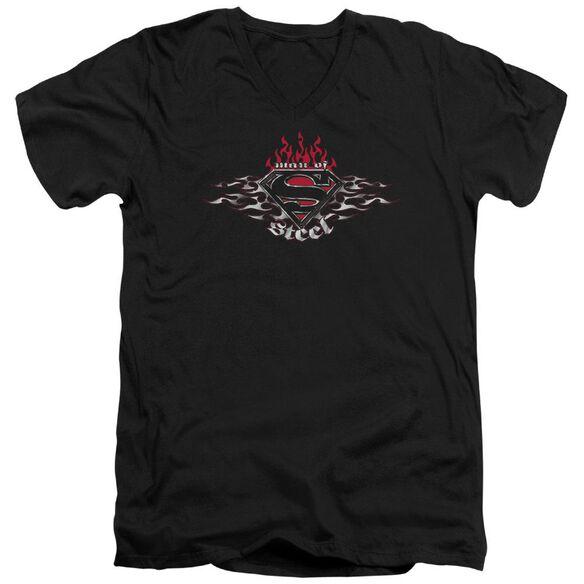 SUPERMAN STEEL FLAMES SHIELD - S/S ADULT V-NECK - BLACK T-Shirt