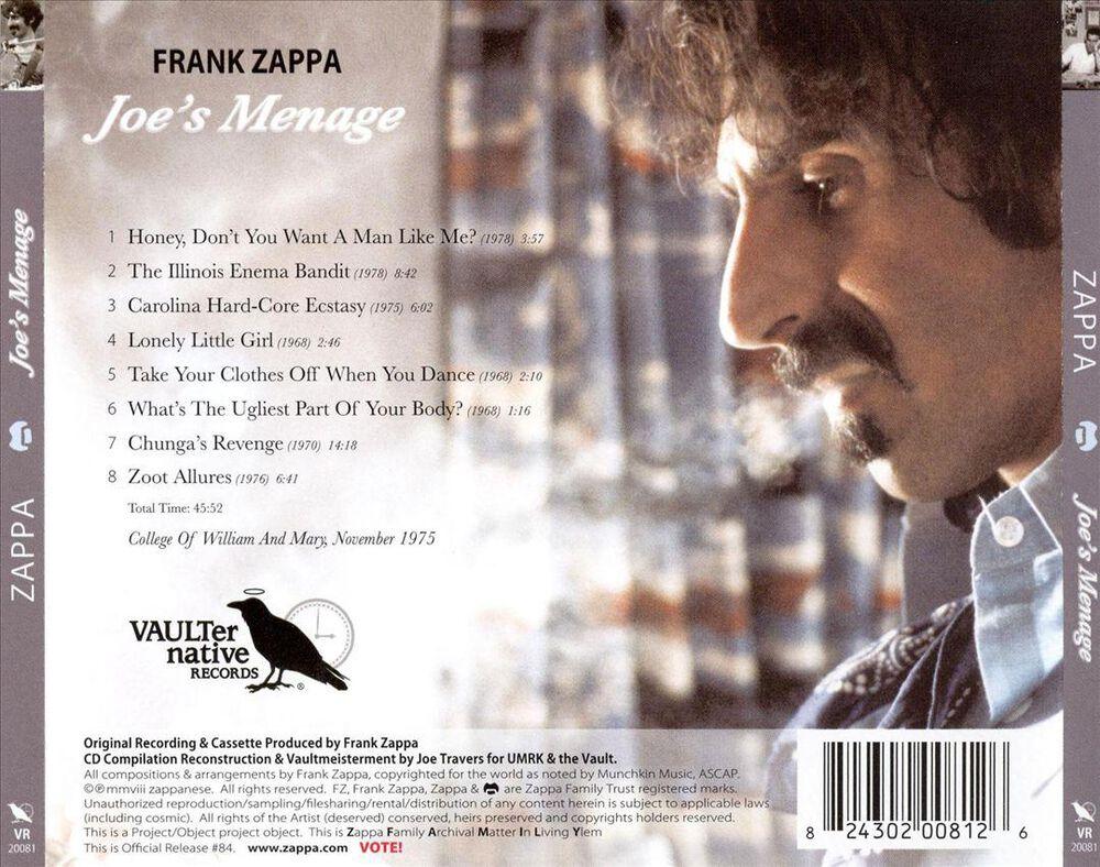 Joe S Menage By Frank Zappa New On CD