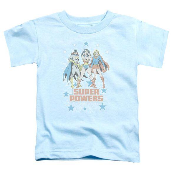 Dc Super Powers X3 Short Sleeve Toddler Tee Light Blue Sm T-Shirt