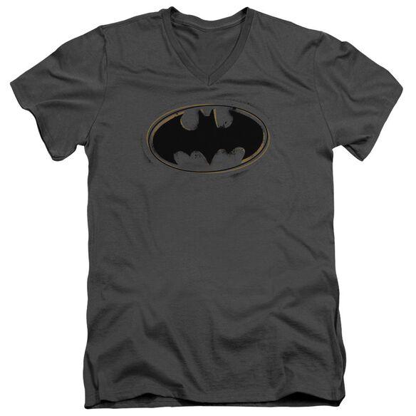 Batman Spray Paint Logo Short Sleeve Adult V Neck T-Shirt