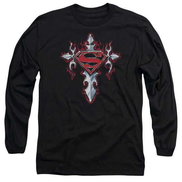 Superman Gothic Steel Logo Long Sleeve Adult T-Shirt