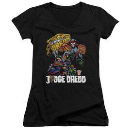 Judge Dredd Bike And Badge Junior V Neck T-Shirt