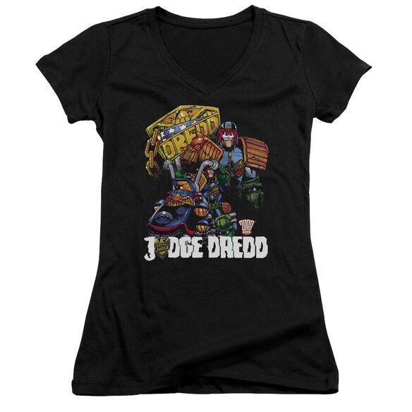 Judge Dredd Bike And Badge Junior V Neck T-Shirt