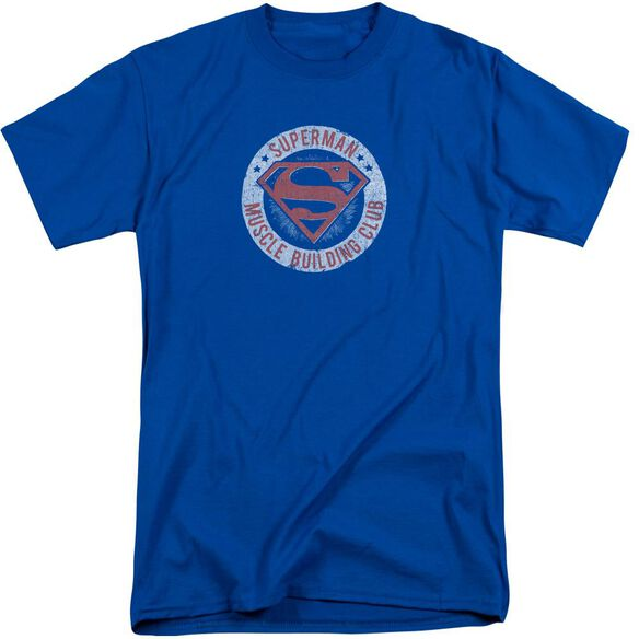 Superman Muscle Club Short Sleeve Adult Tall Royal T-Shirt