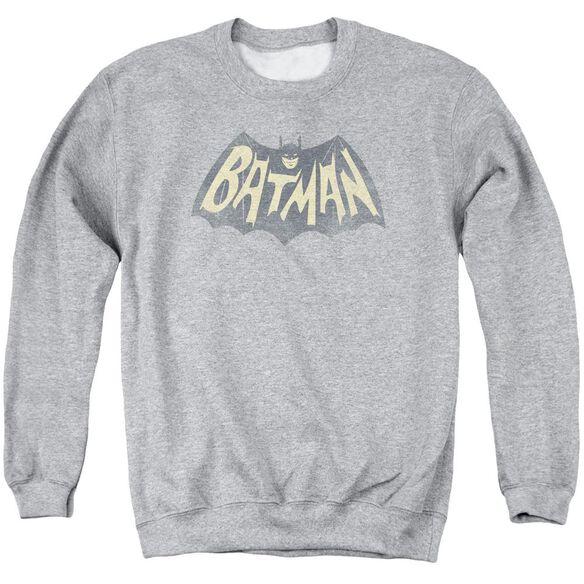 Batman Classic TV Show Logo - Adult Crewneck Sweatshirt - Athletic Heather