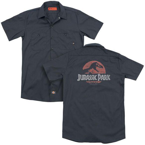 Jurassic Park Faded Logo (Back Print) Adult Work Shirt