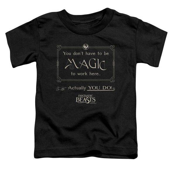 Fantastic Beasts Magic To Work Here Short Sleeve Toddler Tee Black T-Shirt