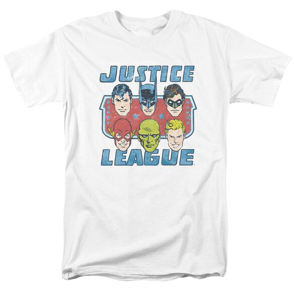 Dc Faces Of Justice Short Sleeve Adult White T-Shirt