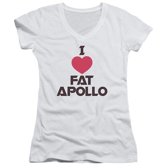 Bsg I Heart Fat Apollo - Junior V-neck - White