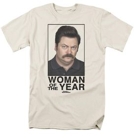 Parks And Rec Woman Of The Year Short Sleeve Adult Cream T-Shirt