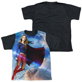 Supergirl Up In The Sky Short Sleeve Youth Front Black Back T-Shirt