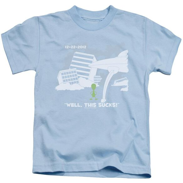 Late To The Party Short Sleeve Juvenile Light Blue T-Shirt