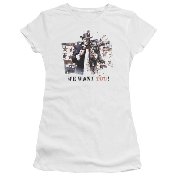 Arkham City We Want You Short Sleeve Junior Sheer T-Shirt