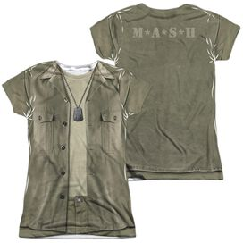 Mash Hawkeye Costume (Front Back Print) Short Sleeve Junior Poly Crew T-Shirt