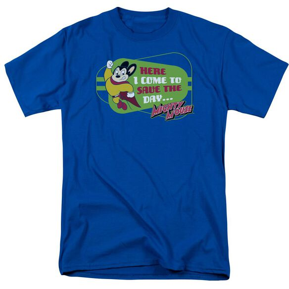 Mighty Mouse Here I Come Short Sleeve Adult Royal Blue T-Shirt