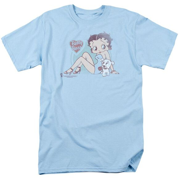 Betty Boop Vintage Pin Pup Short Sleeve Adult Light Blue T-Shirt