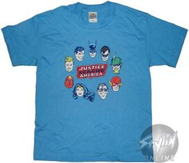 Justice League Circle Heads Youth T-Shirt